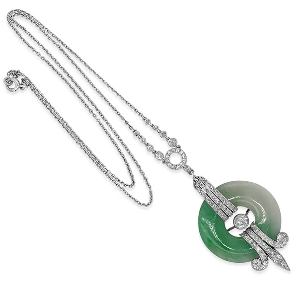 Jadeite Diamond Pendant Necklace - Lueur Jewelry
