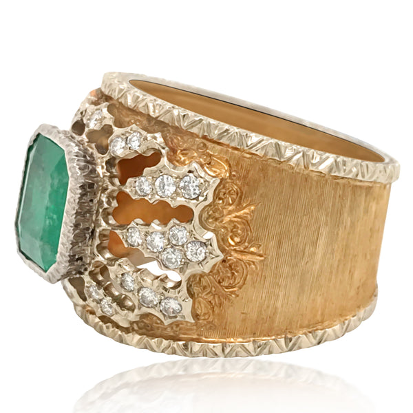 Mario Buccellati, Emerald Diamond Gold Band Ring - Lueur Jewelry