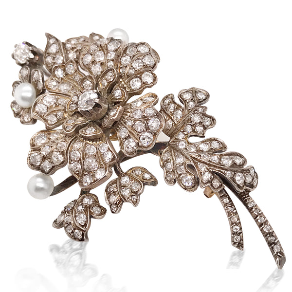 Silver-topped 18K Gold Diamond and Pearl 'en tremblant' Brooch - Lueur Jewelry