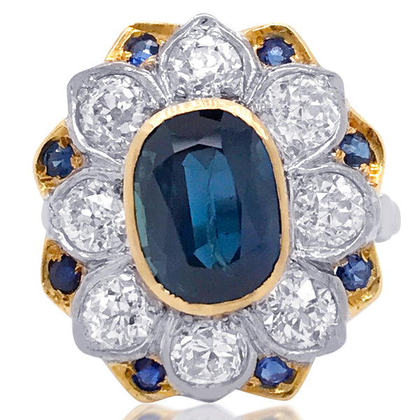 18K Gold Sapphire Diamond Cluster Ring - Lueur Jewelry