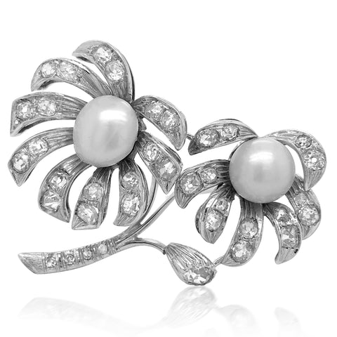 White Gold Flower Brooch with Natural Pearl, CISGEM cert - Lueur Jewelry