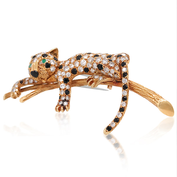 Van Cleef & Arpels, Diamond Gold Panther-on-branch Brooch - Lueur Jewelry