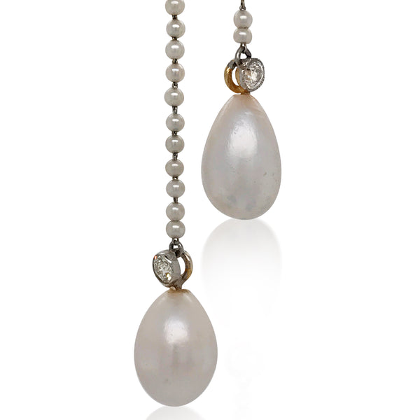 Natural Pearl and Diamond Necklace - Lueur Jewelry