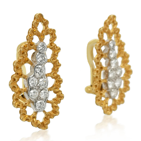 Buccellati, 18K Two-color Gold Diamond Earrings - Lueur Jewelry