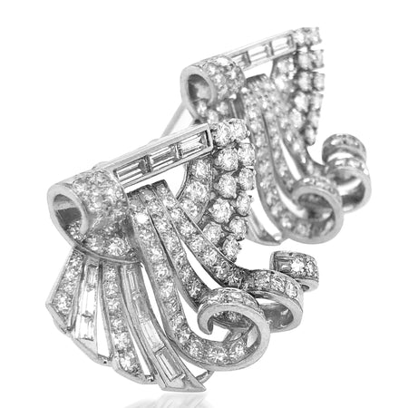 Platinum Diamond Dress Clips Brooch