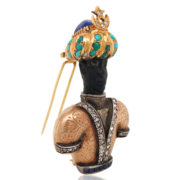 Nardi, Gold and Colored Diamond Blackamoor Brooch - Lueur Jewelry