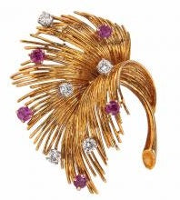 Tiffany, 18K Gold Ruby Diamond Brooch - Lueur Jewelry