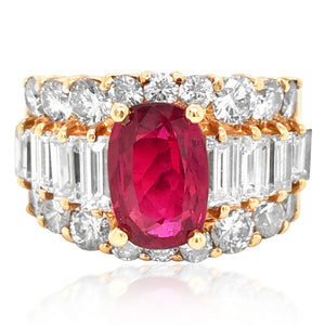 18K Gold Ruby and Diamond Ring - Lueur Jewelry