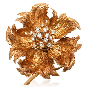 Robert Altman, 14K Gold Diamond En Tremblant Flower Brooch - Lueur Jewelry
