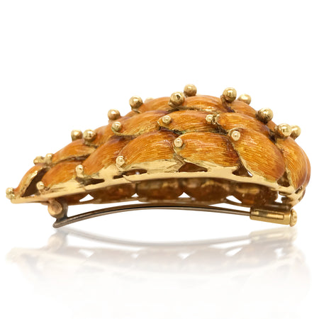 Tiffany, 18K Gold Enamel Leaf Brooch - Lueur Jewelry