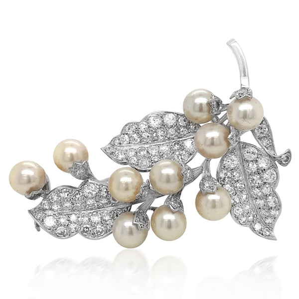 Pearl Diamond Platinum Brooch - Lueur Jewelry