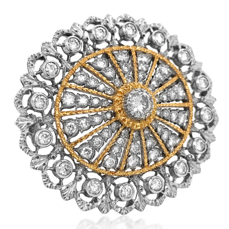 Mario Buccellati, Two-Color Gold and Diamond Brooch - Lueur Jewelry