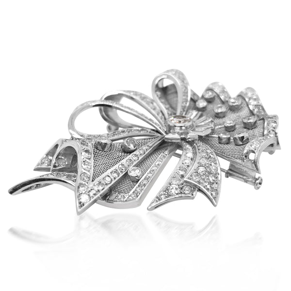Diamond Platinum and Gold Brooch - Lueur Jewelry