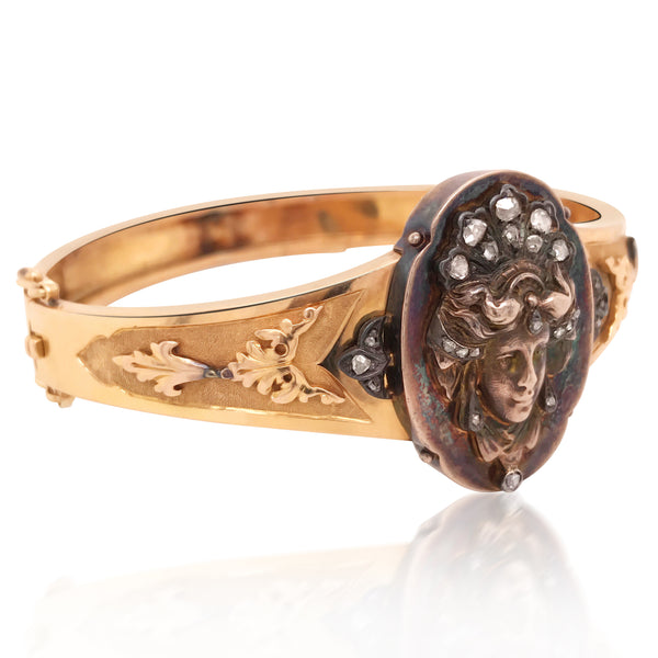 Gold Bangle with Carved Goddess - Lueur Jewelry