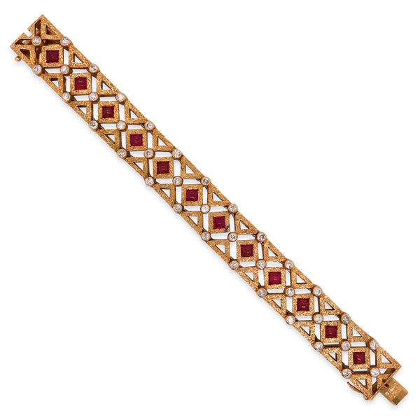 Buccellati, Ruby Diamond Gold Bracelet - Lueur Jewelry