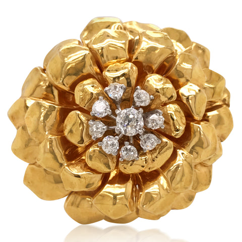 Cartier, Diamond Flower Brooch - Lueur Jewelry
