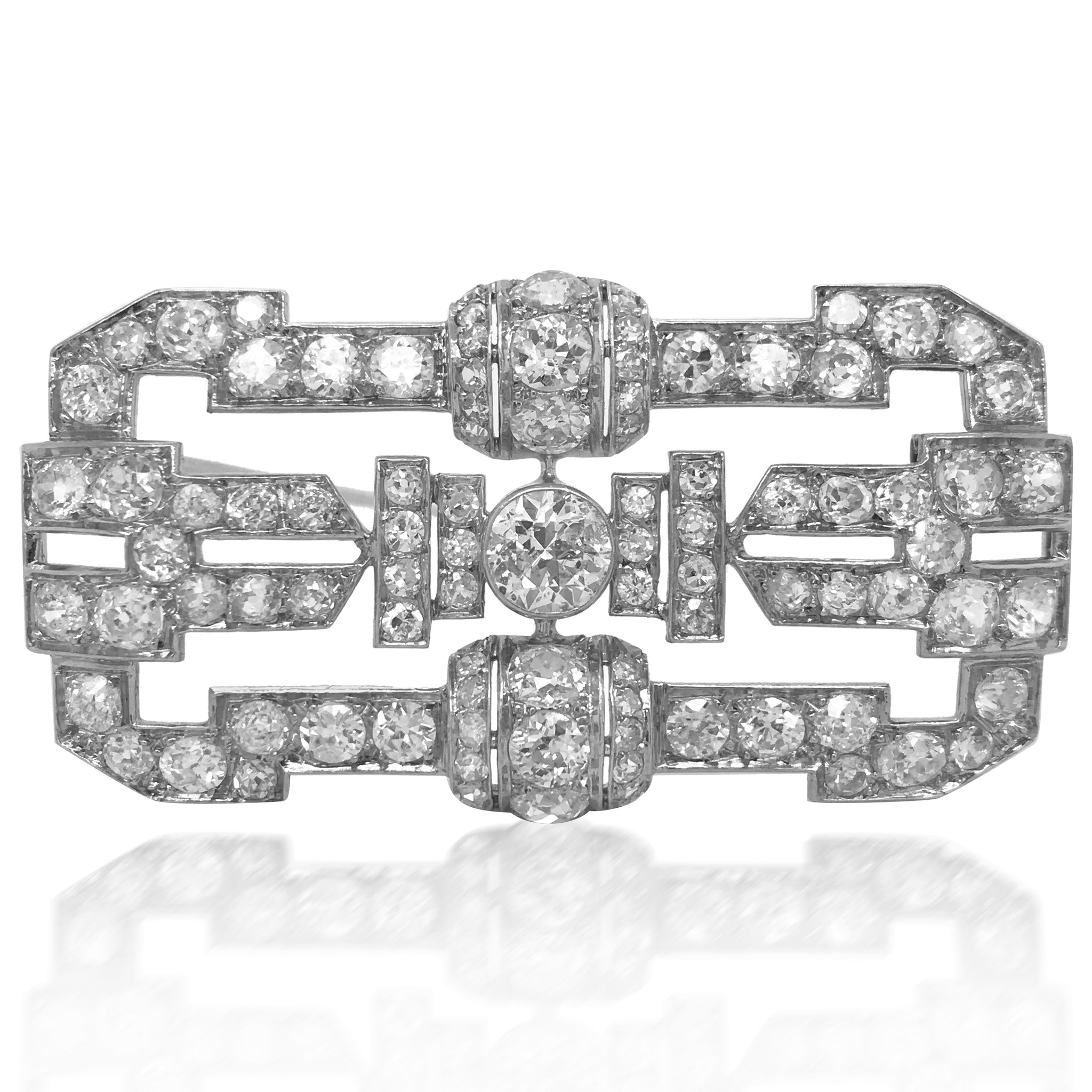 Platinum Diamond Brooch - Lueur Jewelry