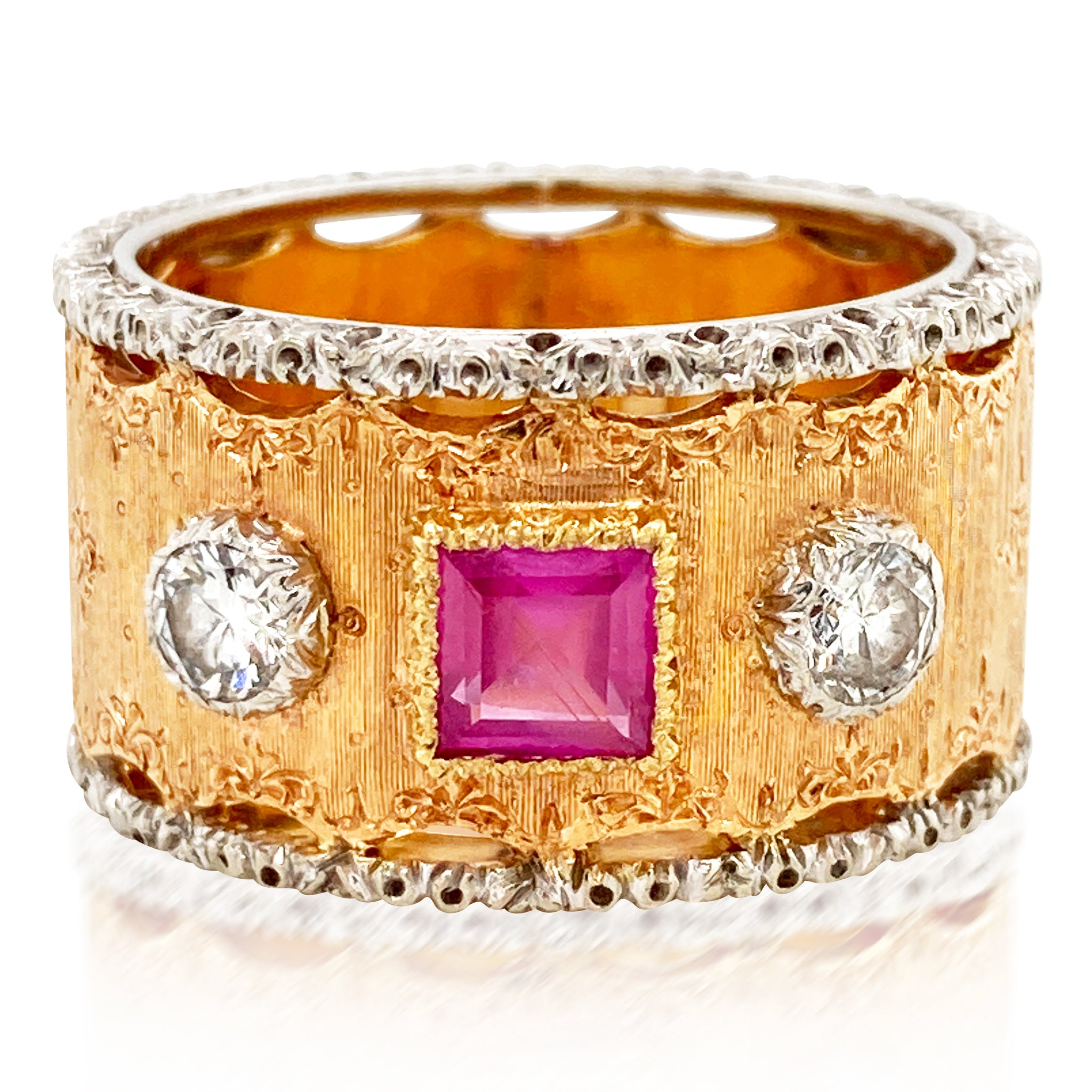 Buccellati, Ruby Diamond Ring - Lueur Jewelry