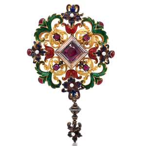 Antique Multigem Enamel Pendant Brooch - Lueur Jewelry
