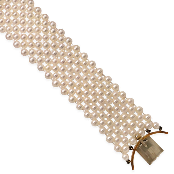 18K Gold Emerald Pearl and Diamond Bracelet - Lueur Jewelry