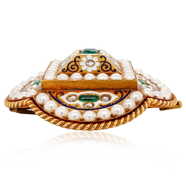 18K Gold Emerald Pearl and Diamond Bracelet