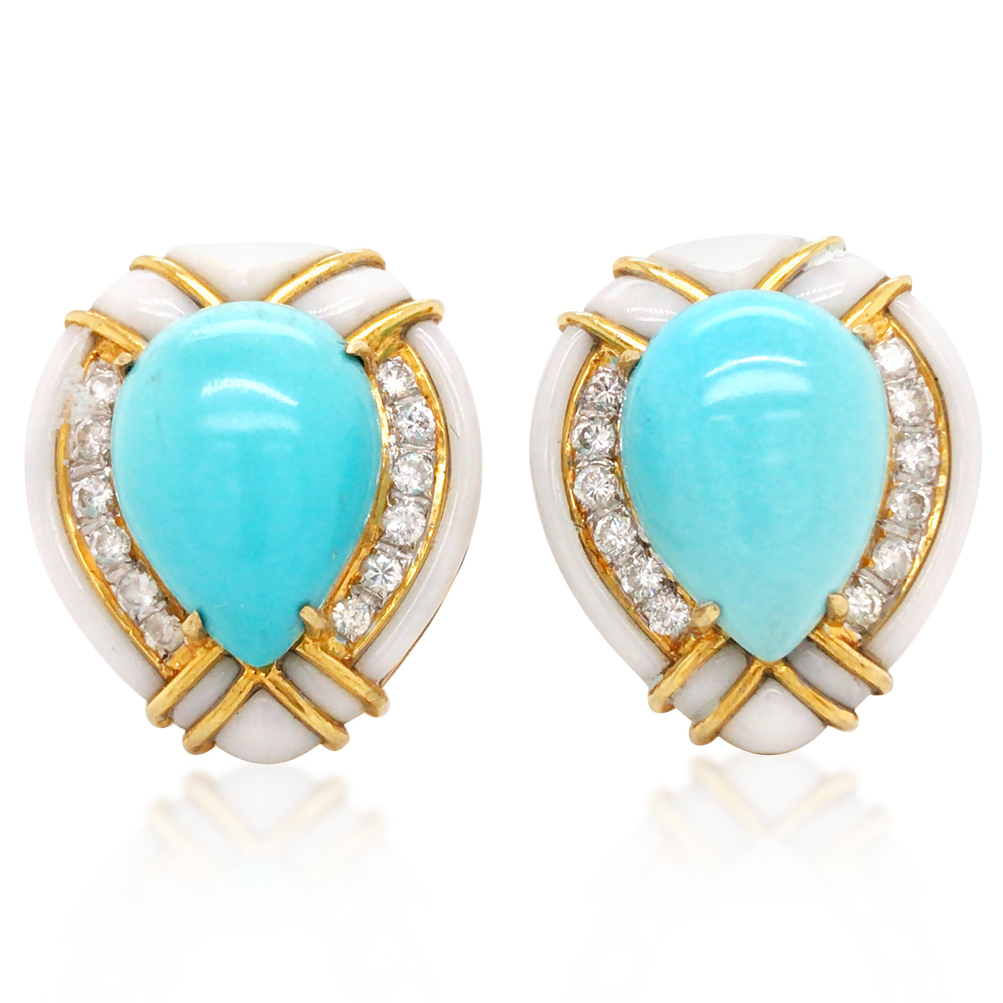 18K Gold Diamond Multigem Earrings - Lueur Jewelry