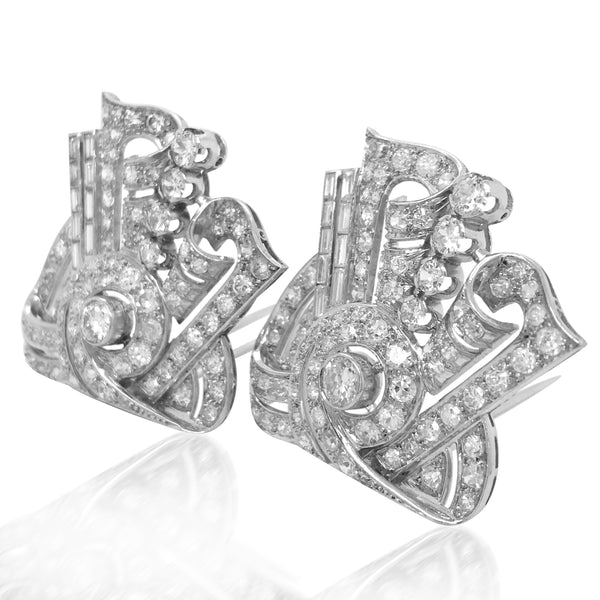 Pair of Diamond Clip Brooches - Lueur Jewelry