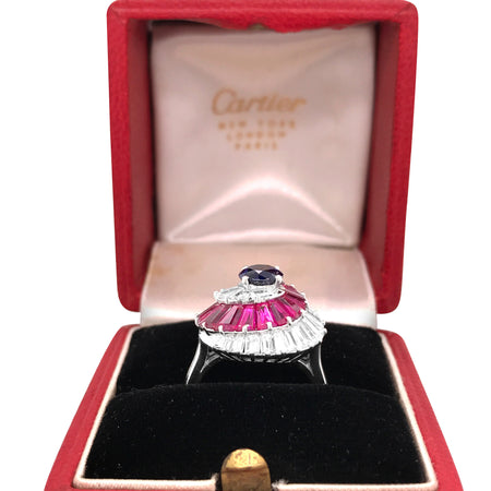 Cartier, Ruby Sapphire Diamond Ring - Lueur Jewelry