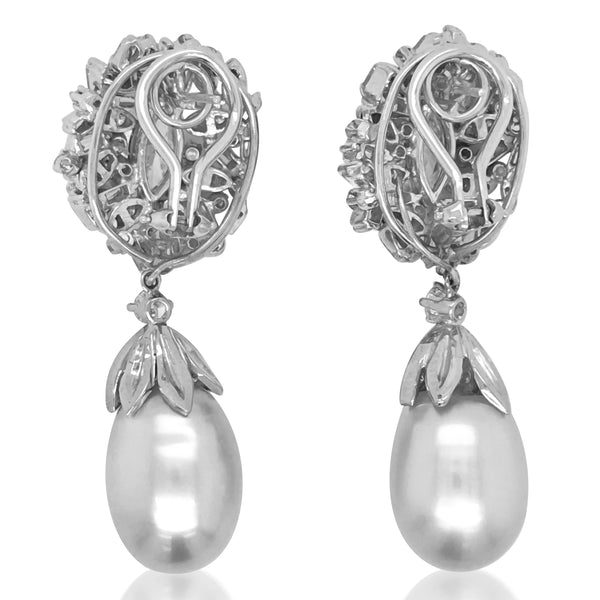 Pearl Diamond Platinum Earrings - Lueur Jewelry