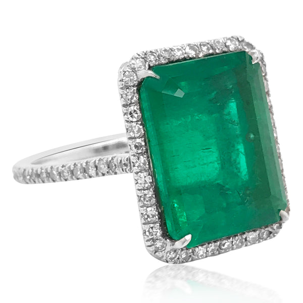 9.69ct Colombian Emerald Platinum Ring - Lueur Jewelry