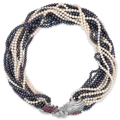 Pearl Ruby Diamond Necklace - Lueur Jewelry