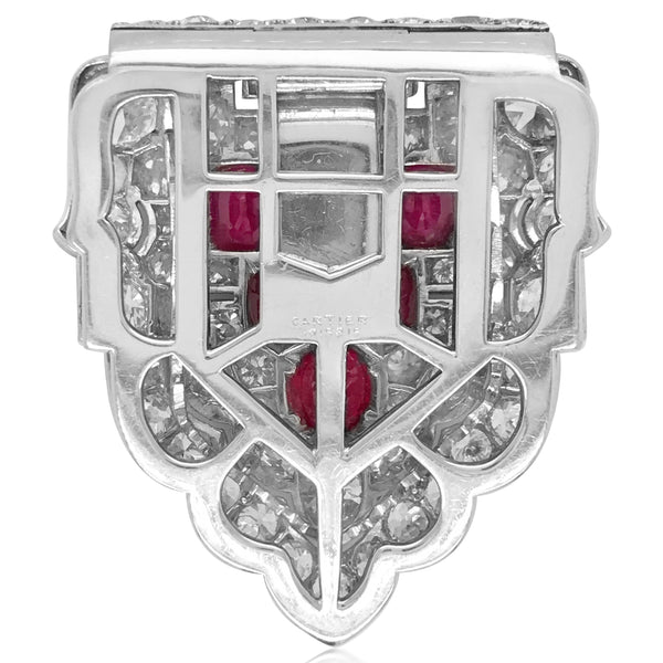 Cartier, Platinum Diamond Ruby Clip Brooch - Lueur Jewelry