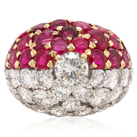 Cartier, Diamond Ruby Gold Ring - Lueur Jewelry