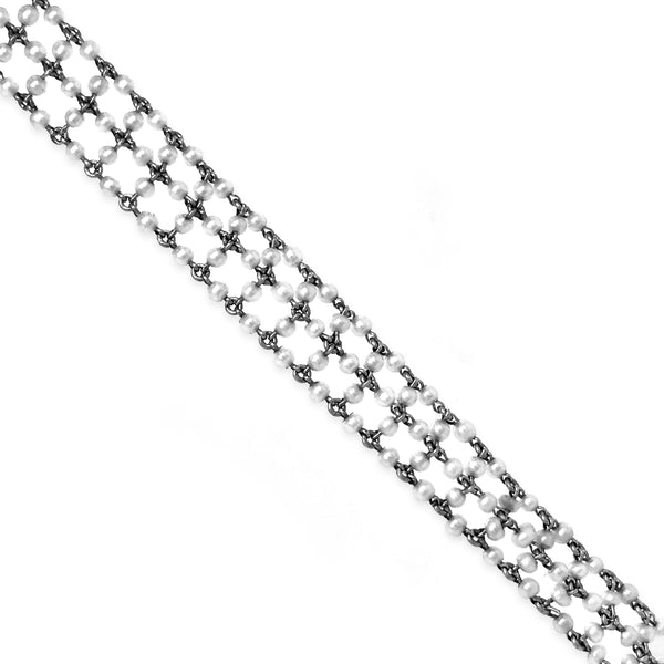 Natural Seed Pearl Platinum Diamond Pendant Necklace - Lueur Jewelry