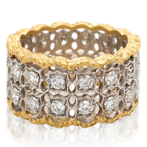 Buccellati, Openwork Gold Diamond Ring - Lueur Jewelry