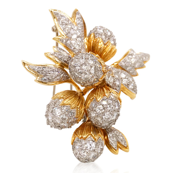 Tiffany Schlumberger, 18K Gold Diamond Flower Brooch - Lueur Jewelry
