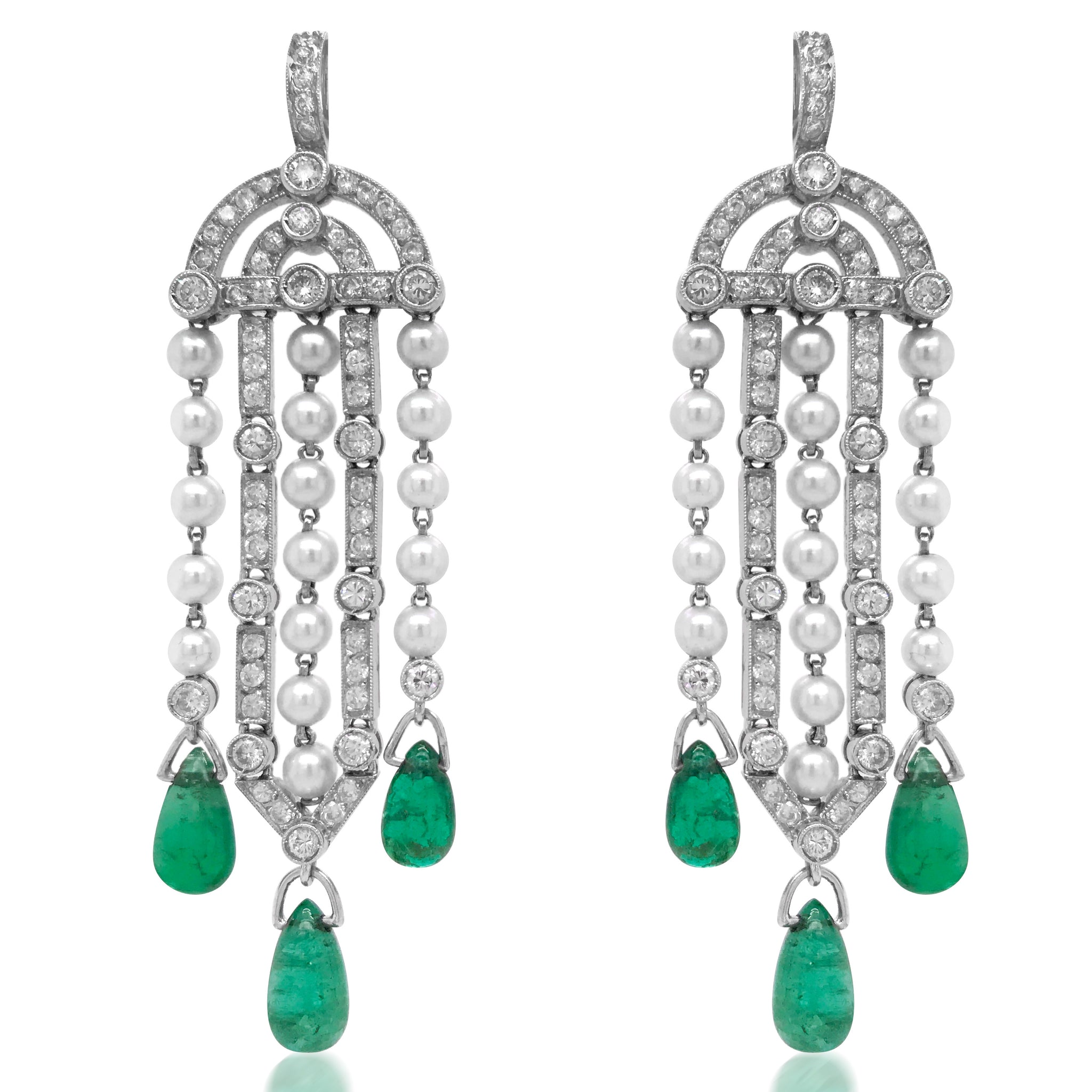 Pearl Diamond Earrings with Pear-shaped Emerald Droplets - Lueur Jewelry