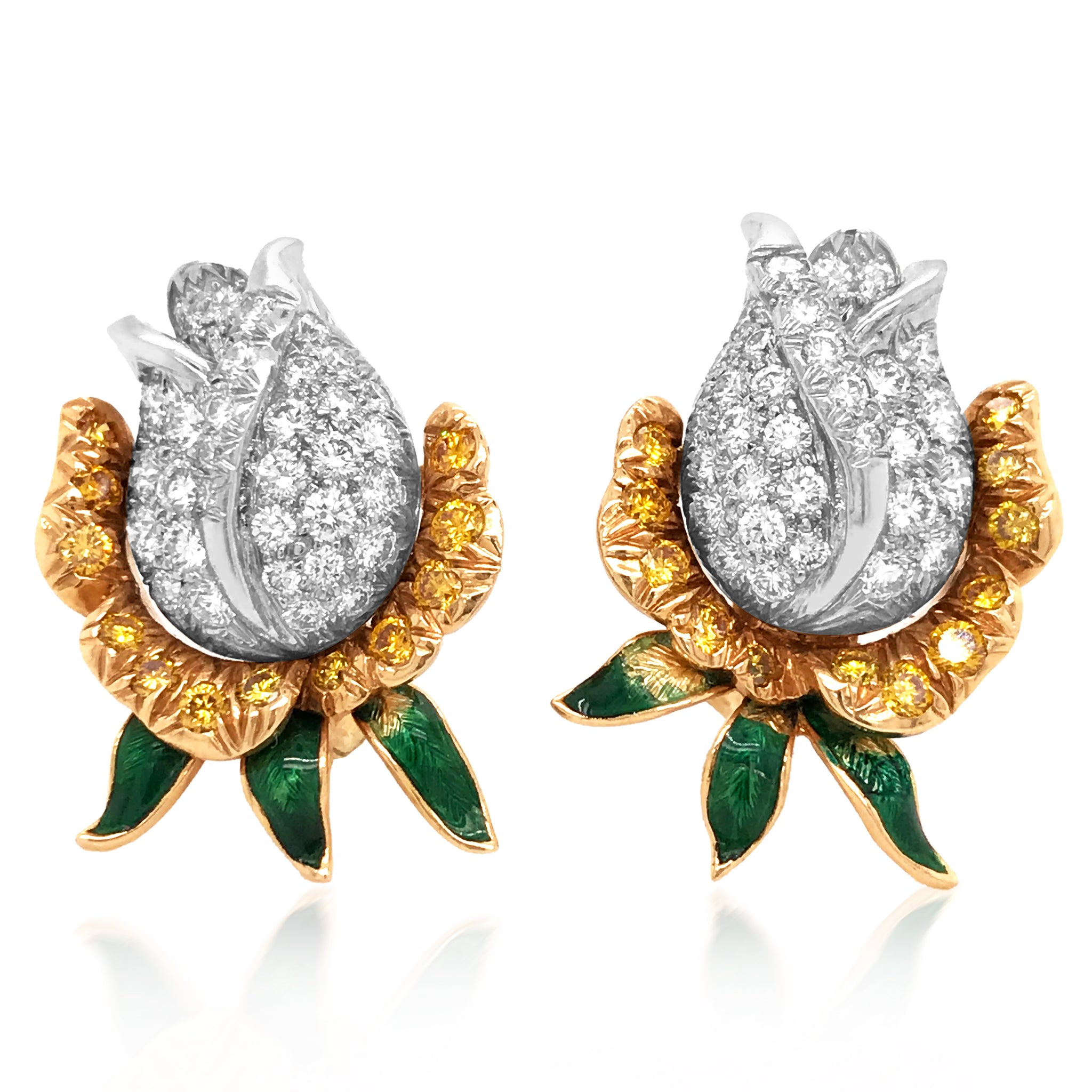 Oscar Heyman, Enamel Diamond Yellow Diamond Gold Earrings - Lueur Jewelry