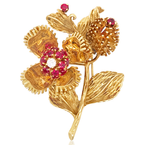 Tiffany, 18K Gold Ruby Diamond Chestnut Brooch - Lueur Jewelry