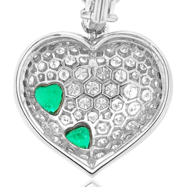 Harry Winston, Platinum Diamond Heart-shaped Earrings with Heart-shaped Emerald - Lueur Jewelry