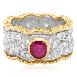 Buccellati, Platinum Gold Diamond Ring with Ruby - Lueur Jewelry