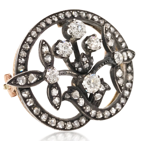 Faberge, Diamond Floral Brooch - Lueur Jewelry