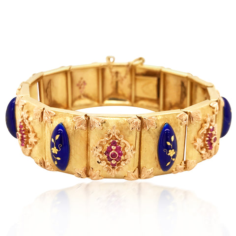 18K Textured Gold Blue Enamel and Ruby Bracelet - Lueur Jewelry