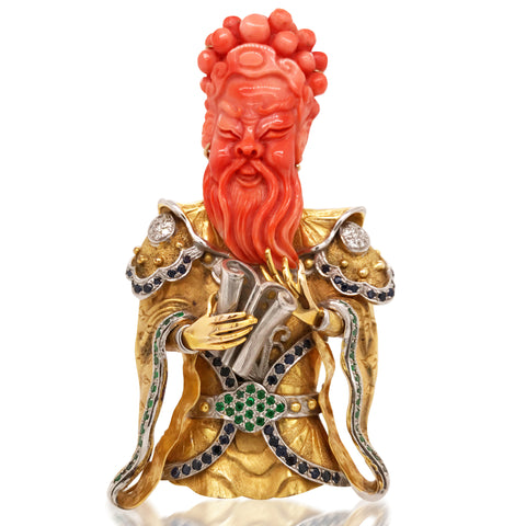 Asian God Coral Diamond Sapphire Emerald Gold Brooch - Lueur Jewelry