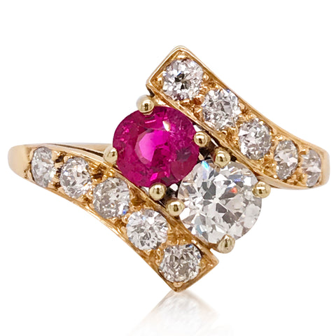 14K Gold Diamond and Ruby Ring - Lueur Jewelry