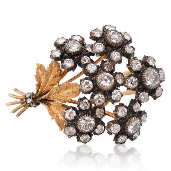 Buccellati, Yellow Gold Diamond Bouquet Brooch - Lueur Jewelry