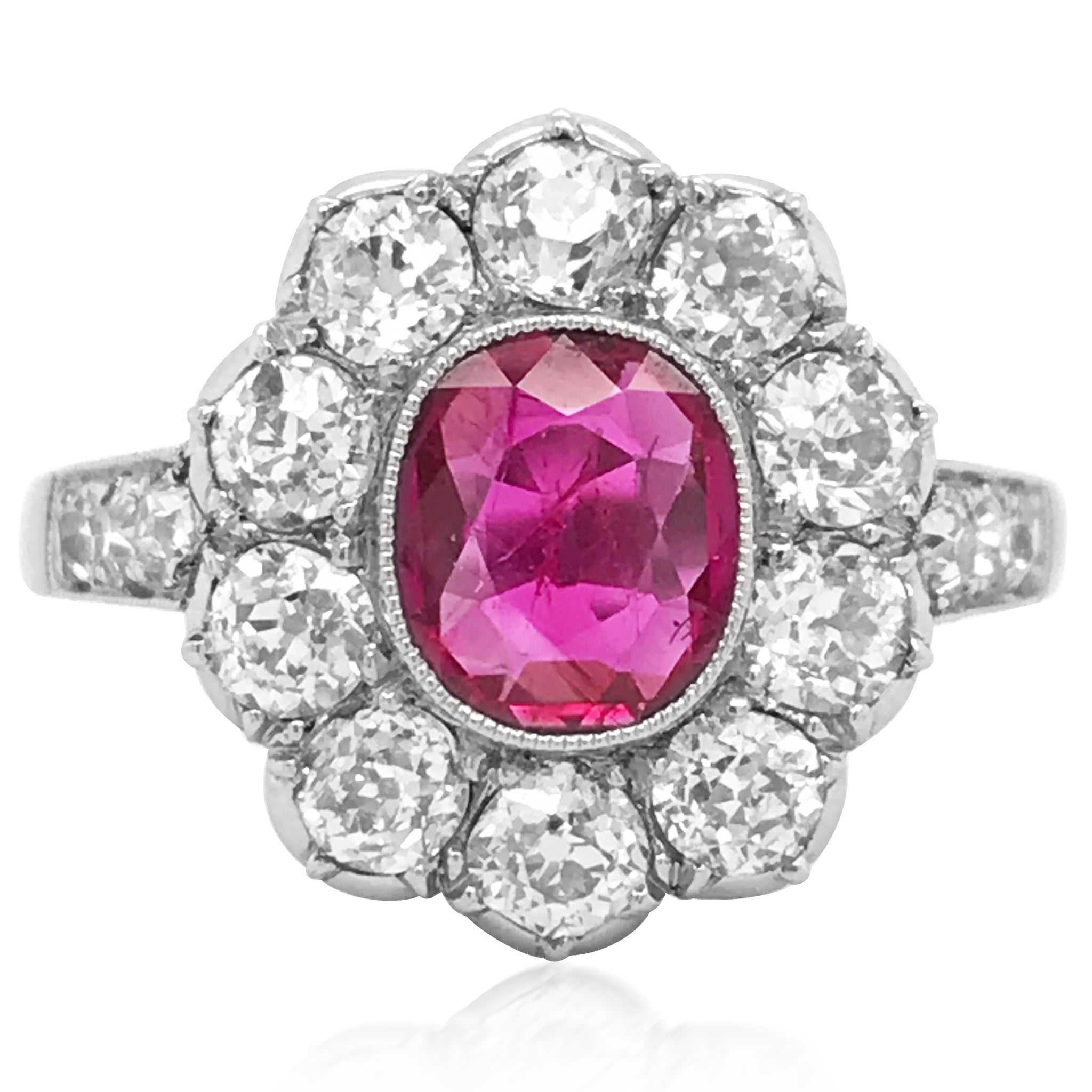 Unheated Burma Ruby and Diamond 18K Gold Ring, AGL - Lueur Jewelry