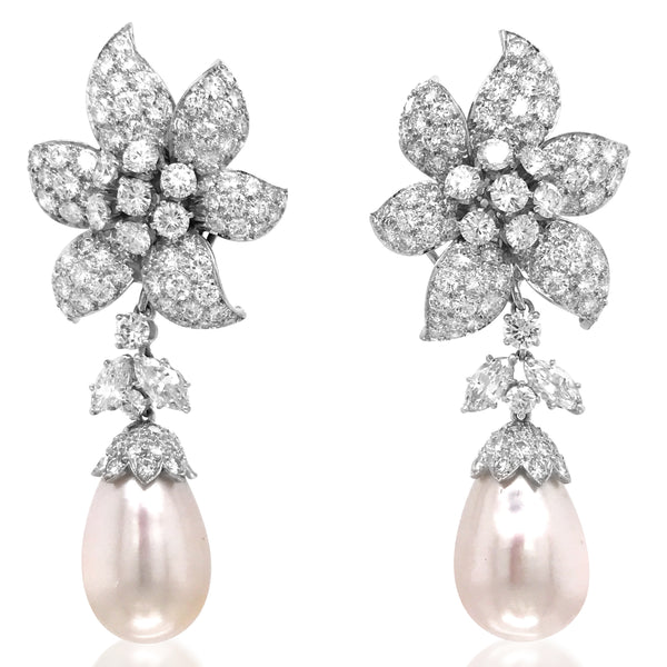 David Webb, Pearl Diamond Earrings - Lueur Jewelry