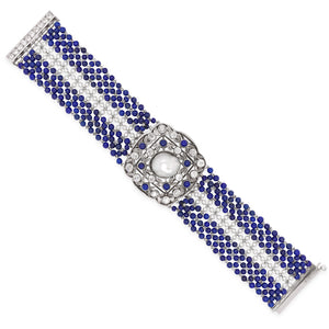 Seed Pearl, Lapis, Natural Baroque Pearl and Diamond Bracelet, GIA - Lueur Jewelry