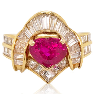 18K Gold Ruby Diamond Ring - Lueur Jewelry